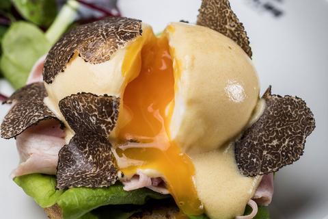 Egg Benedict com presunto trufado